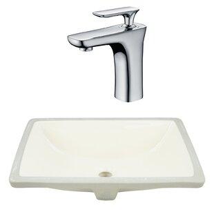 Royal Purple Bath Kitchen CSA Ceramic Rectangular Undermount Bathroom Sink with Faucet and Overflow