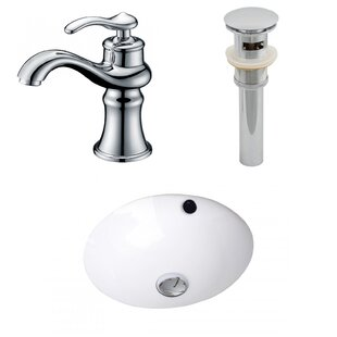 Bargain Ceramic Circular Undermount Bathroom Sink with Faucet and Overflow By American Imaginations