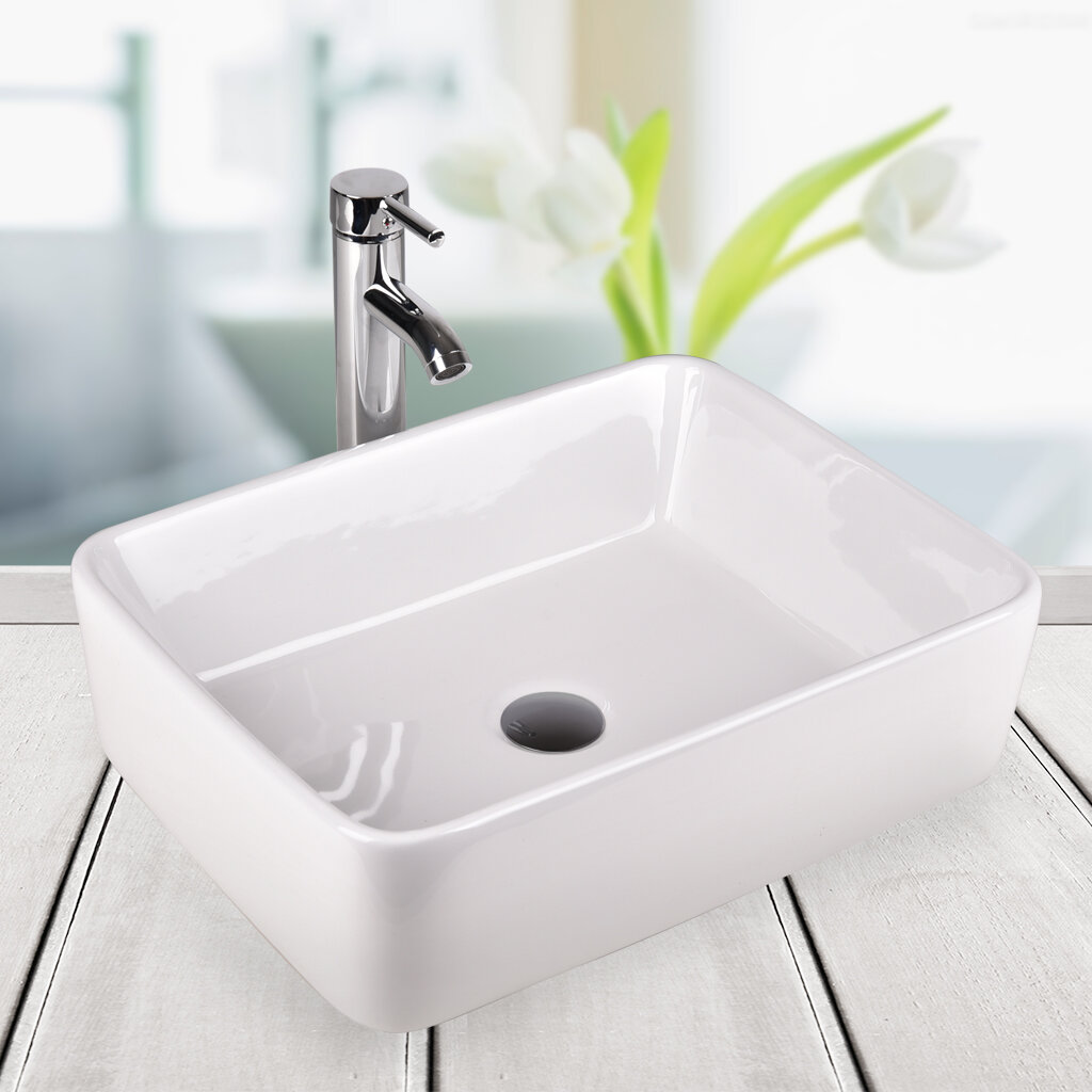 Elecwish Above Counter Ceramic Rectangular Vessel Bathroom Sink With Faucet Reviews Wayfair
