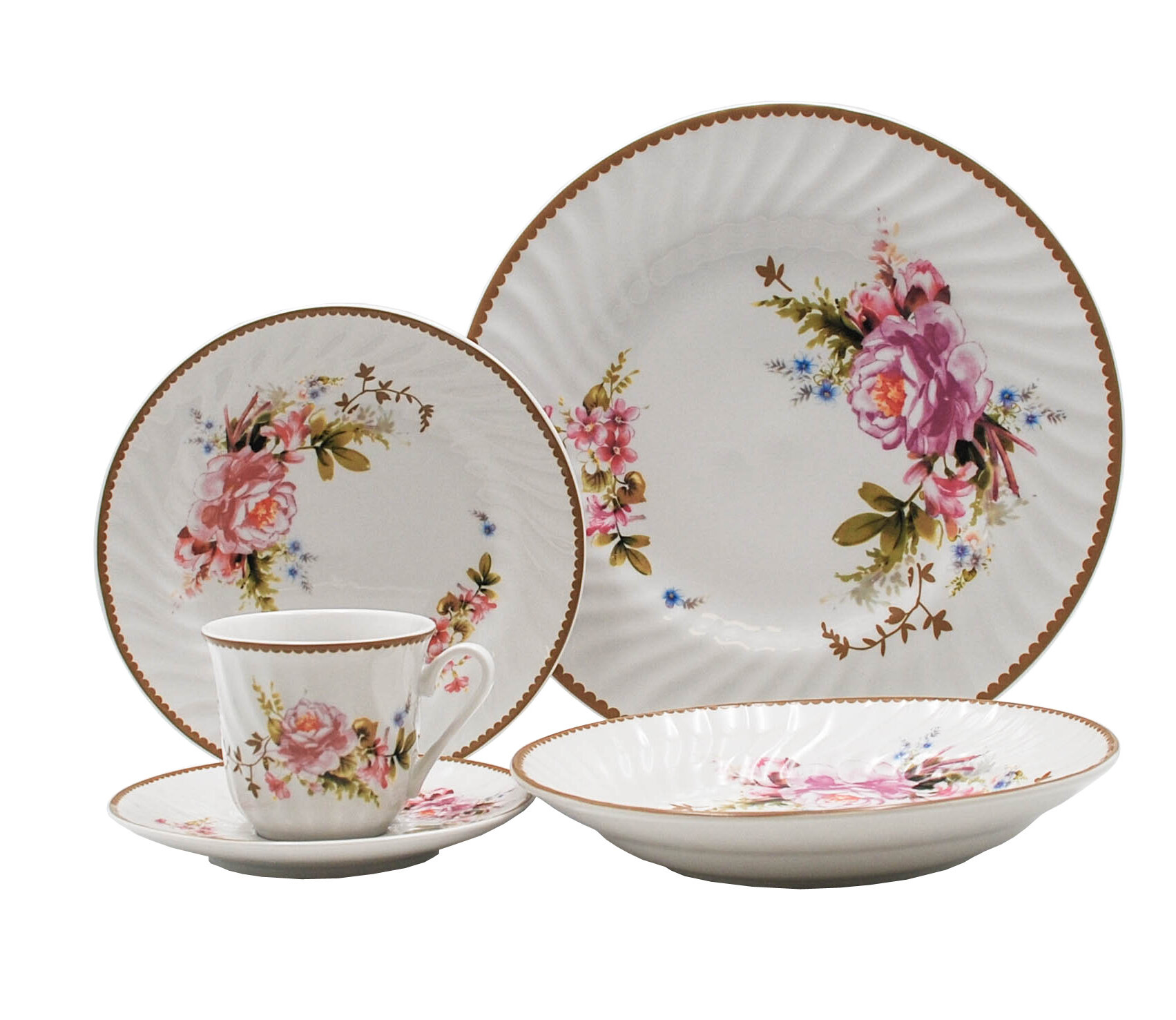 August Grove Rabia Rose 45 Piece Dinnerware Set Service For 8 Reviews