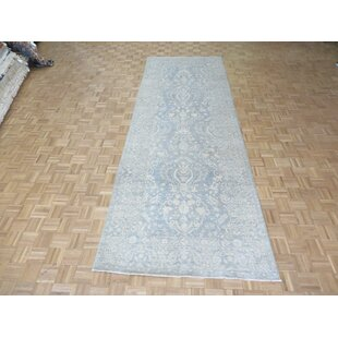 One-of-a-Kind Beaumont Oushak Hand-Knotted Wool Silver/Blue Area Rug by