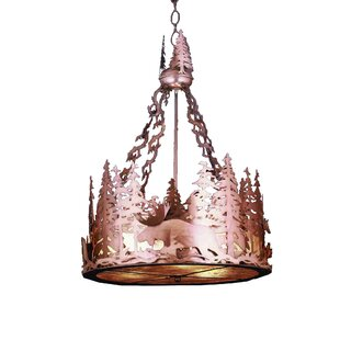 Meyda Tiffany Moose at Dusk 3-Light Inverted Pendant