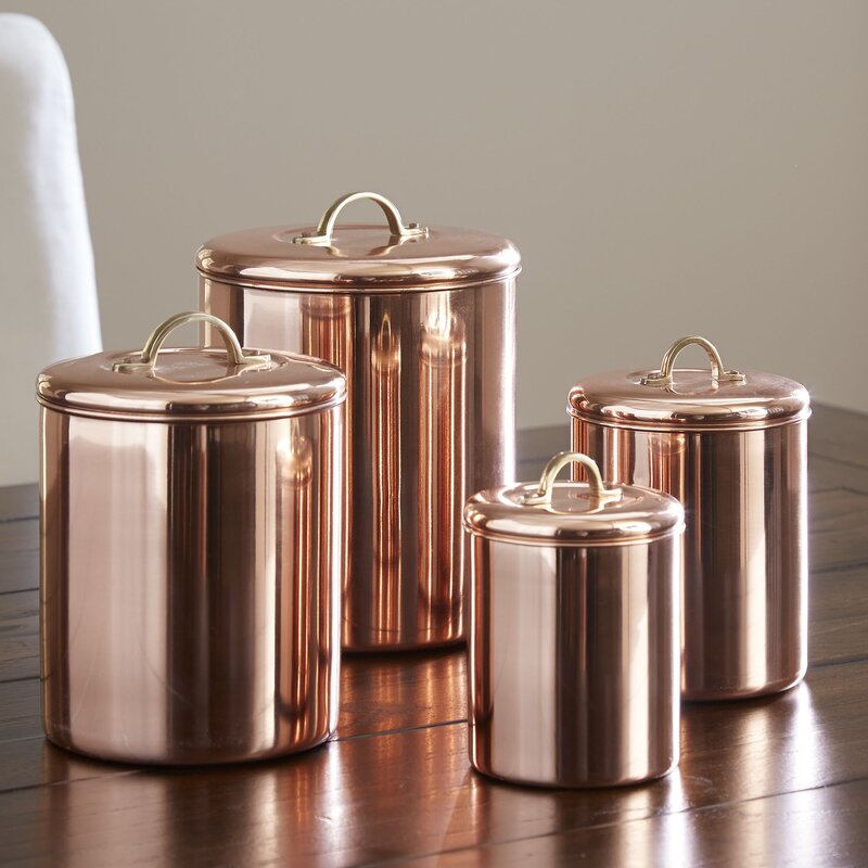 Koppel 4 Piece Kitchen Canister Set - Shop Drew's Honeymoon House {Jonathan's Guest Suite} #copper #PropertyBrothers #coppercanisters