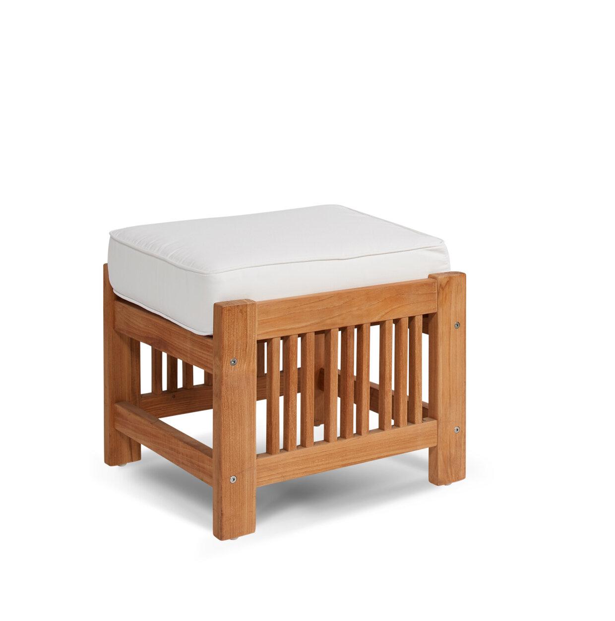 HiTeak Furniture Summer Set Outdoor Teak Ottoman With Sunbrella Cushion |  Wayfair