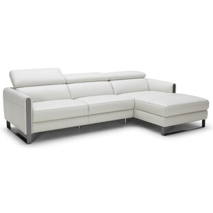 Jessie Leather Reclining Sectional by Orren Ellis