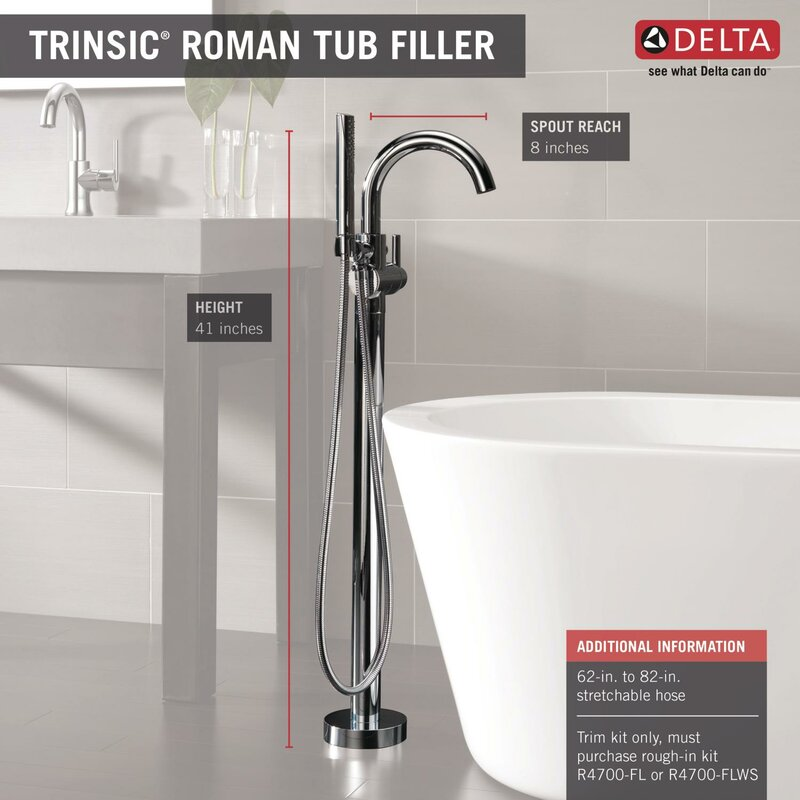 Delta Trinsic® Bathroom Single Handle Floor Mount Tub Filler with ...