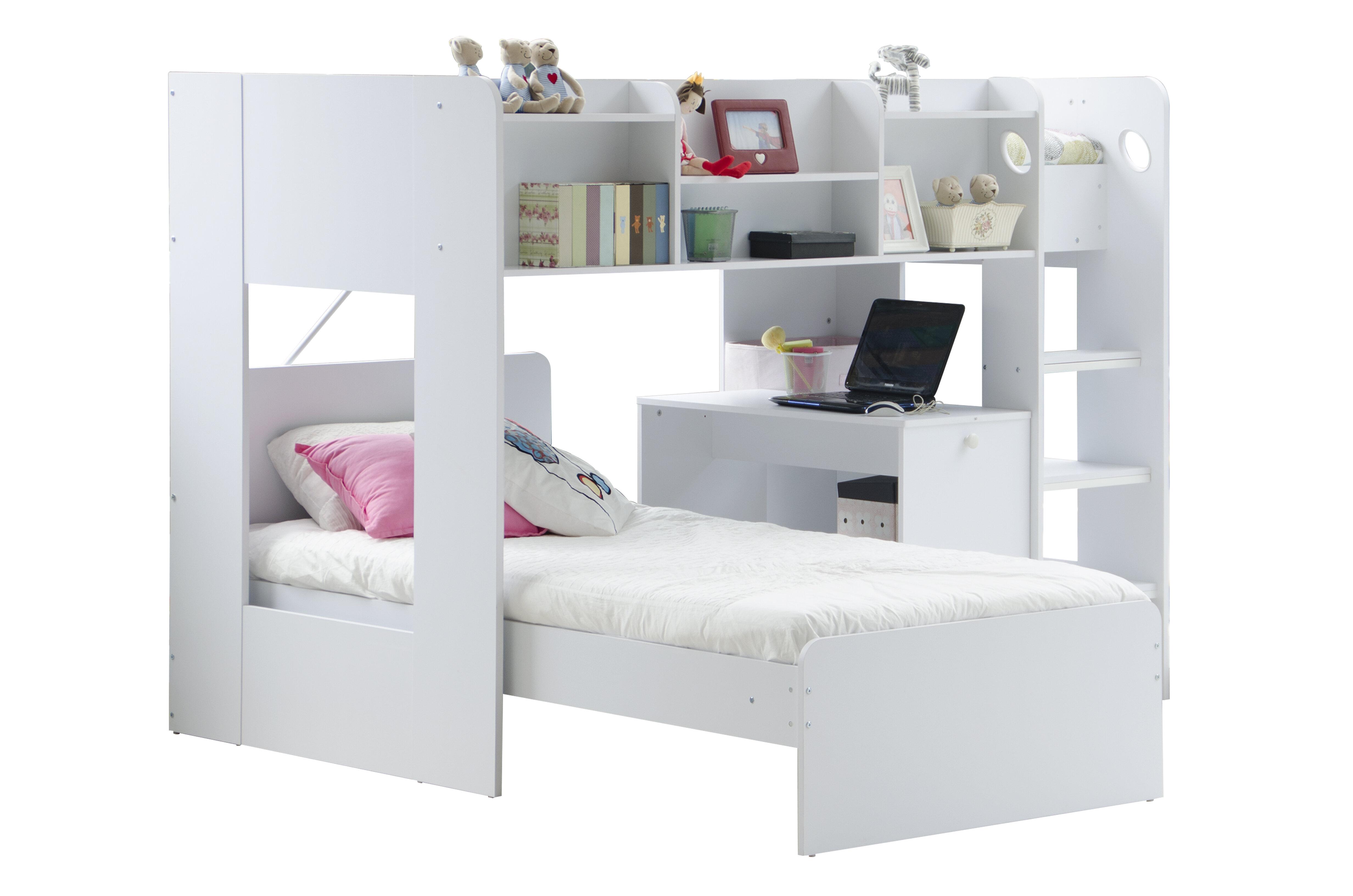 Home Loft Concept Wizard L-Shape Bunk Bed with Shelf | Wayfair.co.uk
