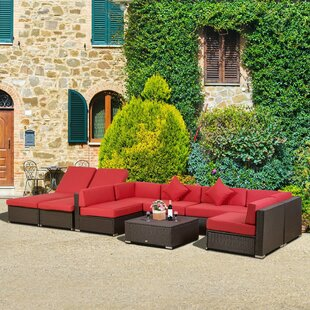 Trudell 9 Piece Rattan Conversation Set with Cushions