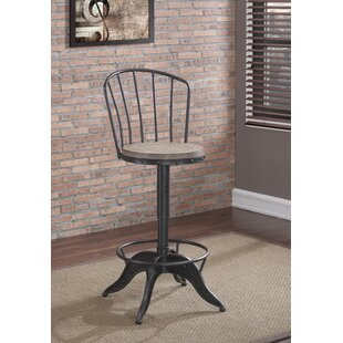 Compare prices Melcher Adjustable Height Swivel Bar Stool by Williston Forge
