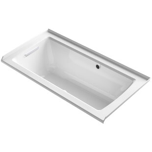 Kohler Archer Alcove BubbleMassage™ Air Bath with Tile Flange, Left-Hand Drain and Bask™ Heated Surface