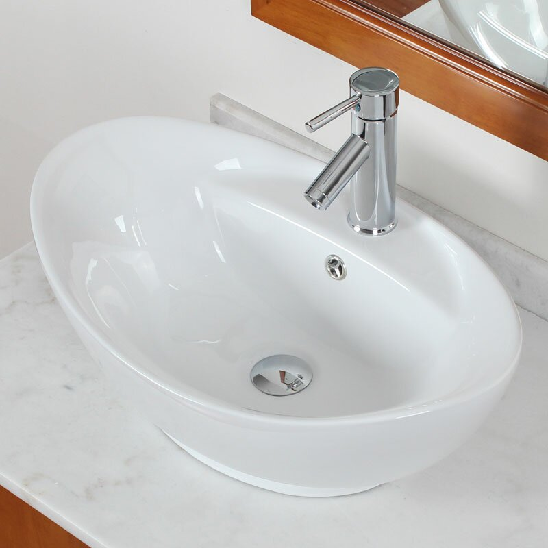 Superbe Above Counter Oval Vessel Bathroom Sink With Overflow