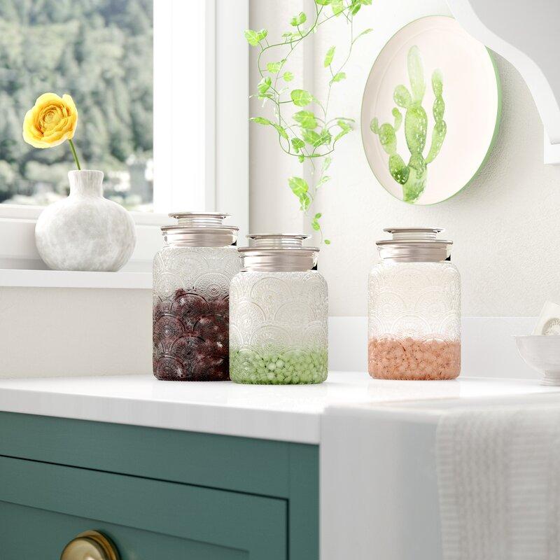 Dakota Fields Glass 3 Piece Kitchen Canister Set Reviews Wayfair