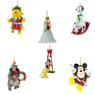 6 piece disney christmas ornament hanging figurine set