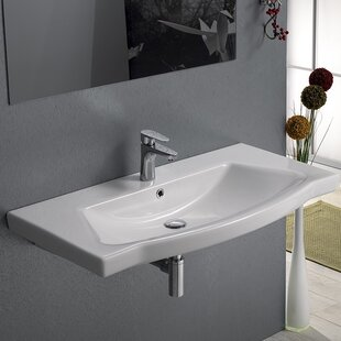 CeraStyle by Nameeks Argona Ceramic Rectangular Drop-In Bathroom Sink with Overflow