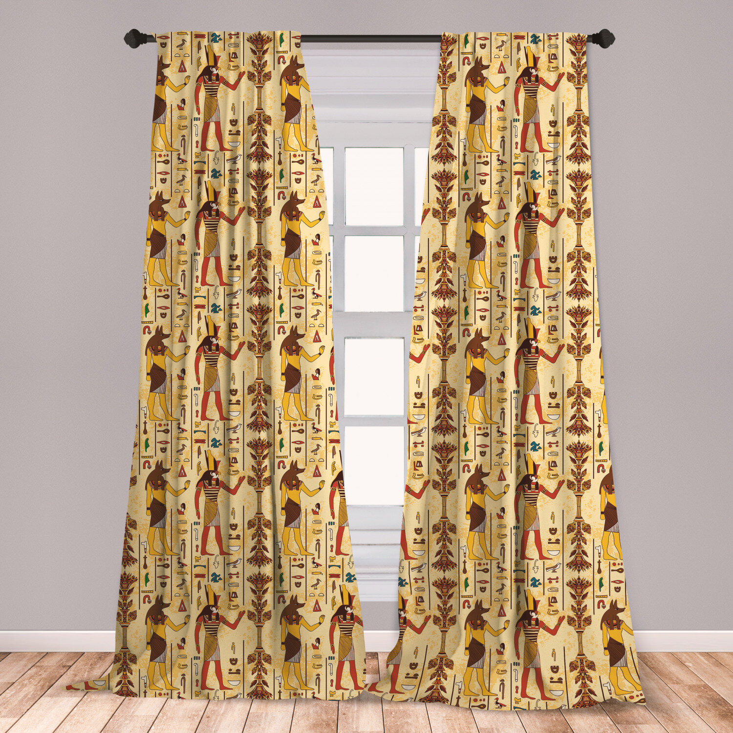East Urban Home Ambesonne Egyptian 2 Panel Curtain Set Grunge Aged Paper Style Backdrop With Retro Characters And Hieroglyphs Lightweight Window Treatment Living Room Bedroom Decor 56 X 63 Multicolor Wayfair