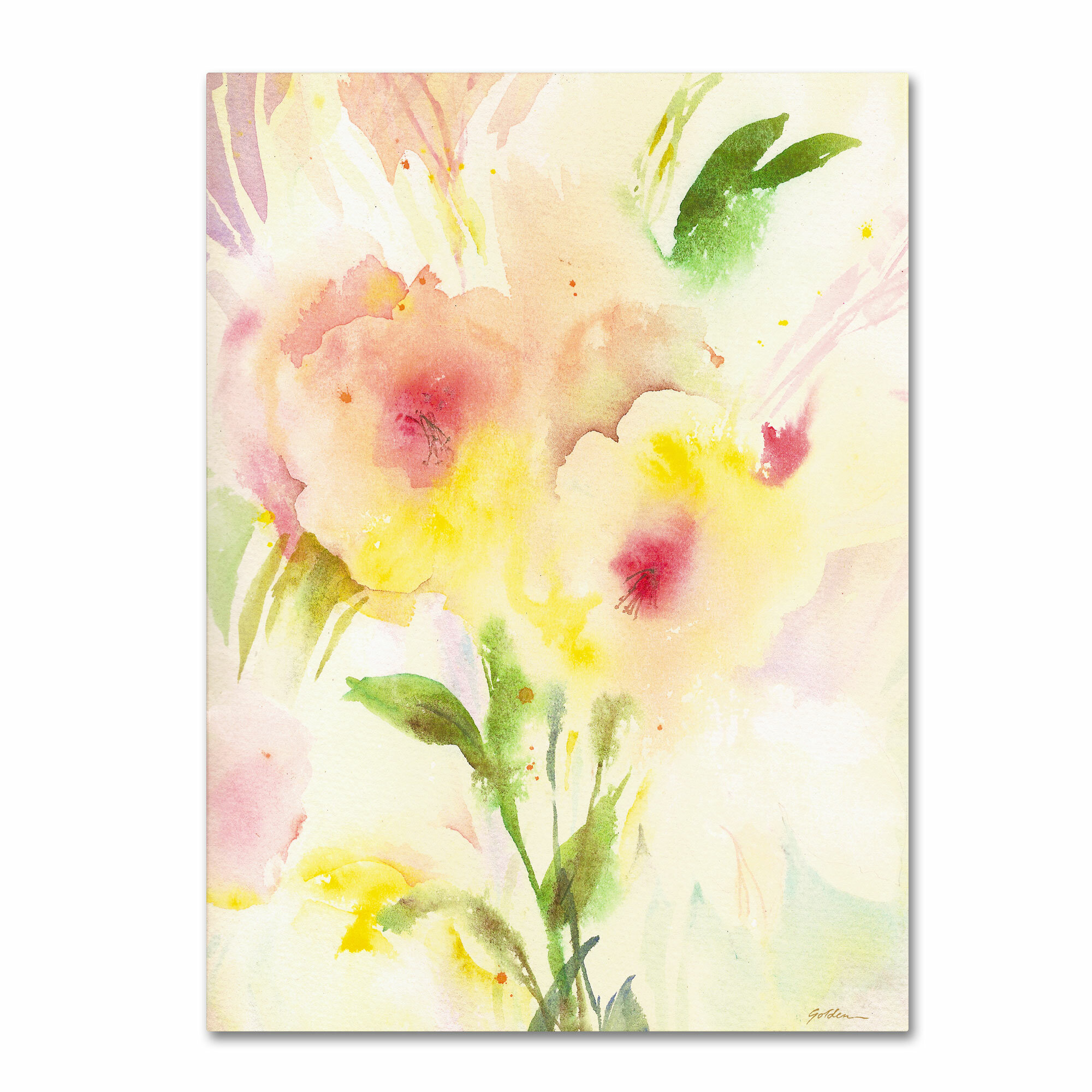 Trademark Art Two Garden Flowers Painting Print On Wrapped Canvas Wayfair