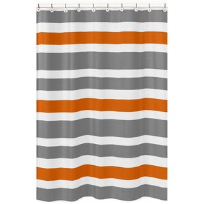 Stripe Brushed Microfiber Shower Curtain Orange Curtains You ll Love  Wayfair