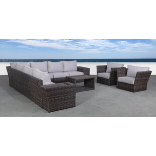 Ryne 12 Piece Rattan Sectional Seating Group with Cushions