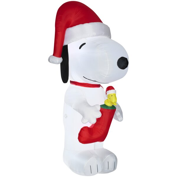 gemmy industries airblown inflatables snoopy with woodstock in stocking giant peanuts reviews wayfair
