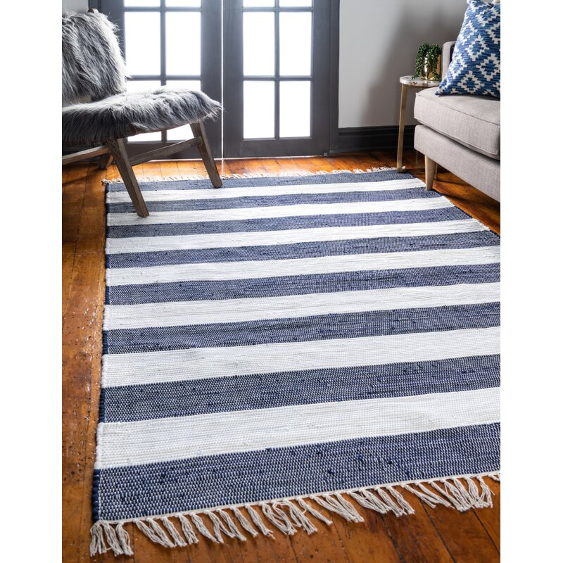 Breakwater Bay Priolo Striped Hand Knotted Cotton Navy Blue Area Rug Reviews Wayfair