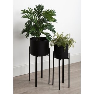 Coates Decorative Indoor 2 Piece Metal Pot Planter Set with Stand
