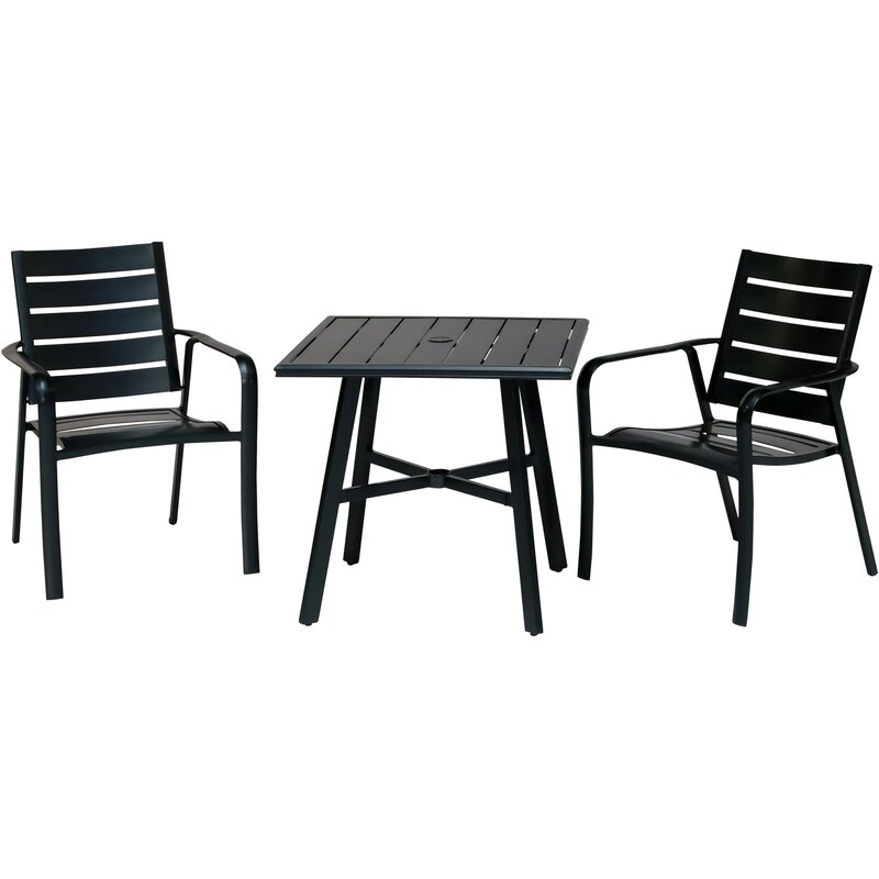 Gracie Oaks Colson 3 Piece Commercial Grade Bistro Set With 2 Aluminum Slat Back Dining Chairs And A 30 Slat Top Table Wayfair