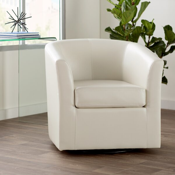 Gentil Leather Barrel Swivel Chair | Wayfair