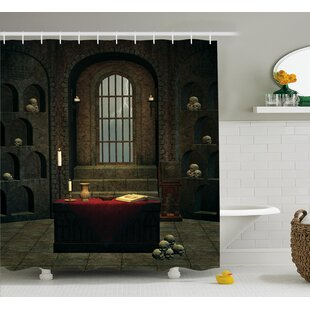 Gothic House Fantasy Spell Casting Warlock Witch Skulls Shelves Candles Spooky Scenery Single Shower Curtain