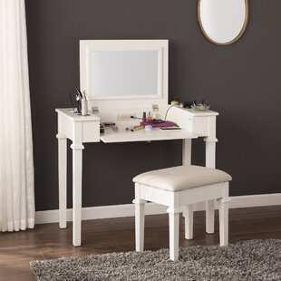Hutchens Vanity Set with Mirror by Charlton Home
