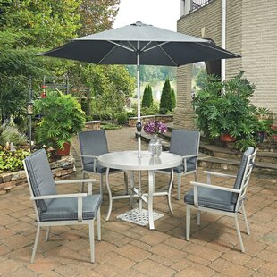Dinan 5 Piece Dining Set With Cushion and With Umbrella