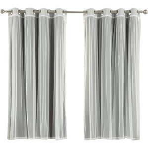 Brunilda Solid Sheer Thermal Grommet Curtain Panels (Set Of 2)