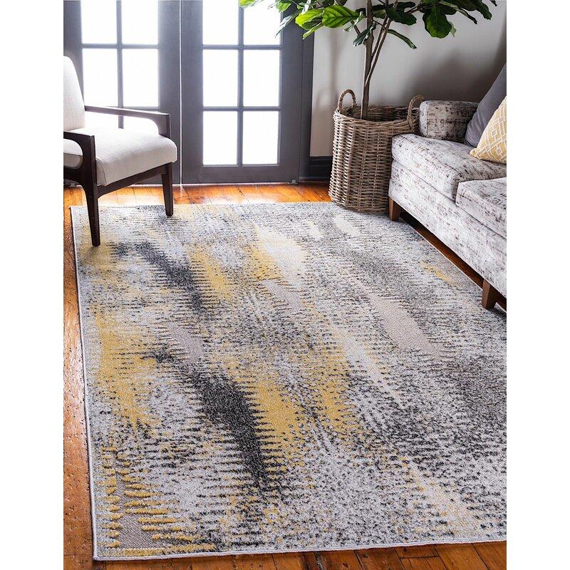 Ebern Designs Lewellen Gray Yellow Indoor Outdoor Area Rug Wayfair
