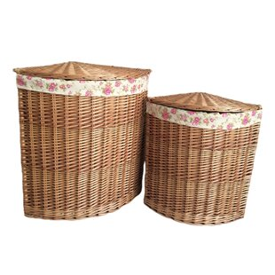 Corner Garden Rose Lining Wicker 2 Piece Laundry Set By August Grove