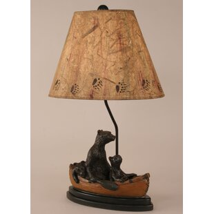 Coast Lamp Mfg. Rustic Living Bear Family in Canoe 28.5