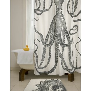 Bath Octopus Cotton Single Shower Curtain