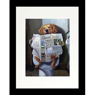 Attirant U0027Dog Gone Funny Reading Newspaperu0027 Lab Framed Graphic Art Print On Wood