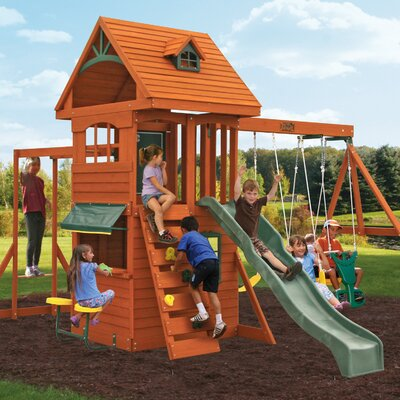 Ridgeview Deluxe Clubhouse Wooden Swing Set KidKraft
