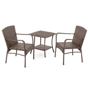Ivy Bronx Rebbeca 3 Piece Rattan Conversation Set with Cushions