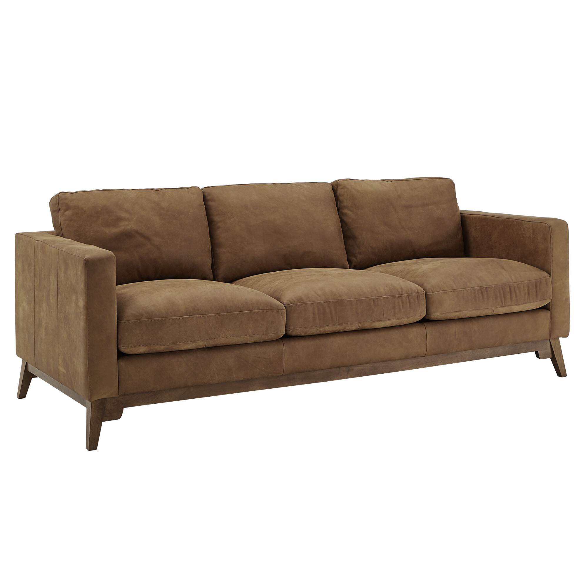 Union Rustic Aster Genuine Leather 88 Square Arm Sofa Wayfair