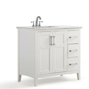 Winston Left Offset 37 Single Bathroom Vanity with Quartz Marble Top by Simpli Home
