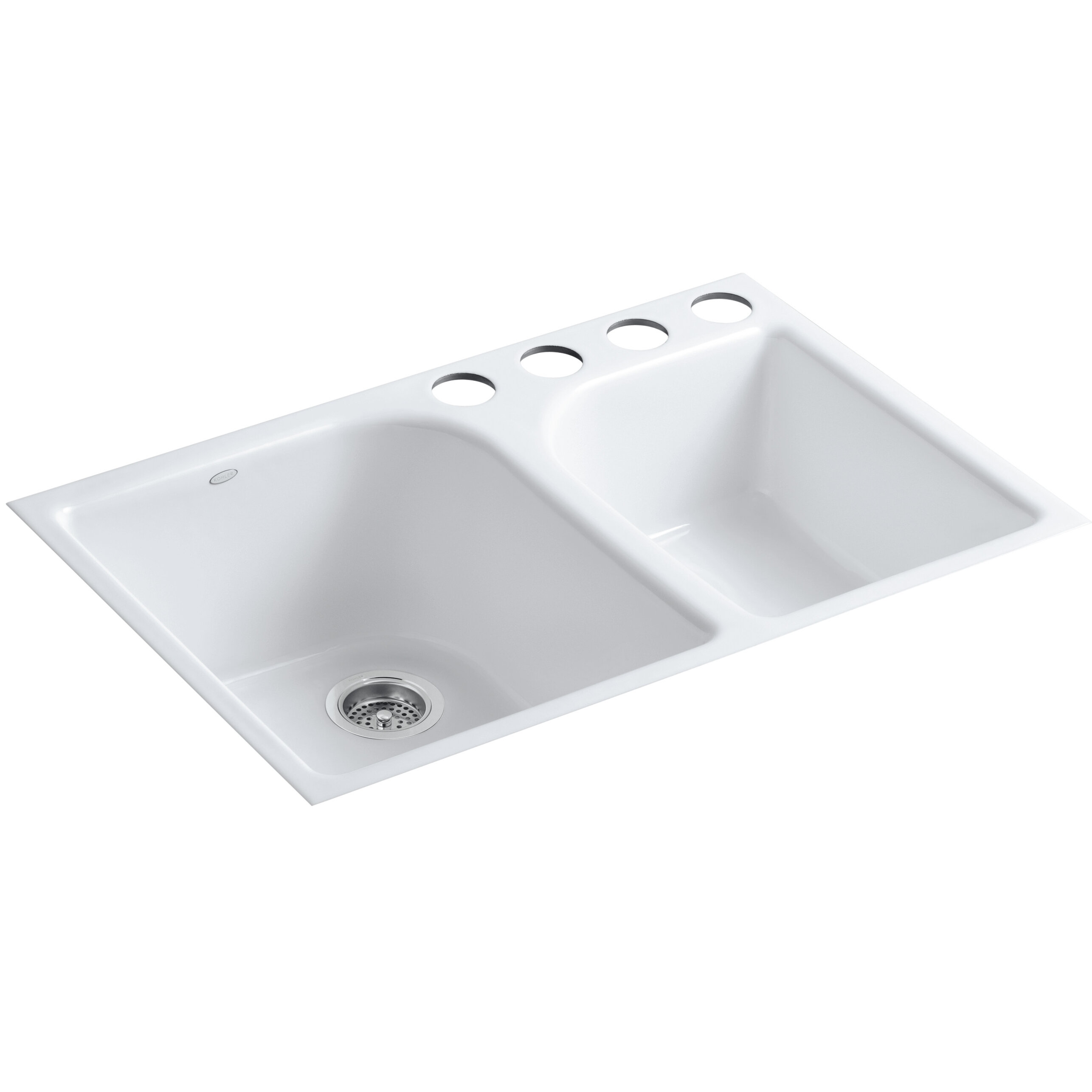 K 5931 4u 0 Kohler Executive Chef 33 L X 22 W 10 5 8 Under Mount Large Medium High Low Double Bowl Kitchen Sink With 4 Oversize Faucet Holes Wayfair