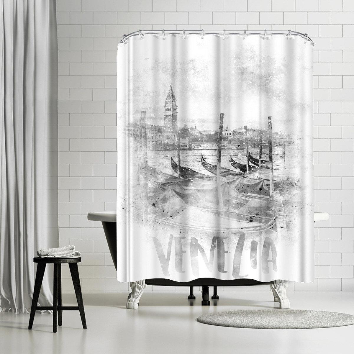 East Urban Home Melanie Viola Canal Grande Watercolor Single Shower Curtain Wayfair