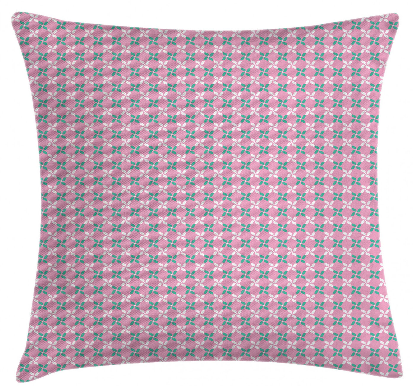 East Urban Home Ambesonne Floral Throw Pillow Cushion Cover Spring Flower Motifs In White And Green Chain Pattern On Pink Background Decorative Square Accent Pillow Case 26 X 26 Baby Pink Teal