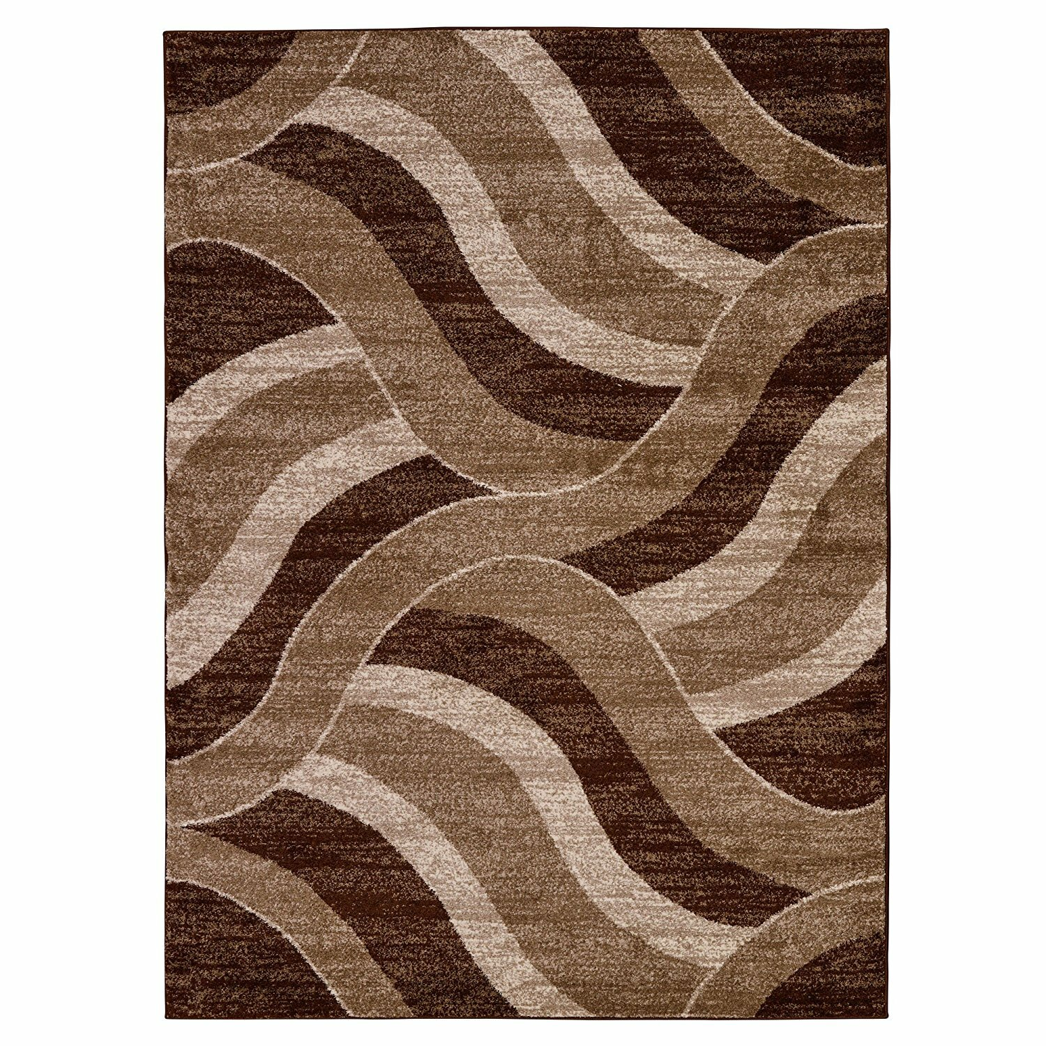 Boyster Abstract Waves Brown Beige Area Rug