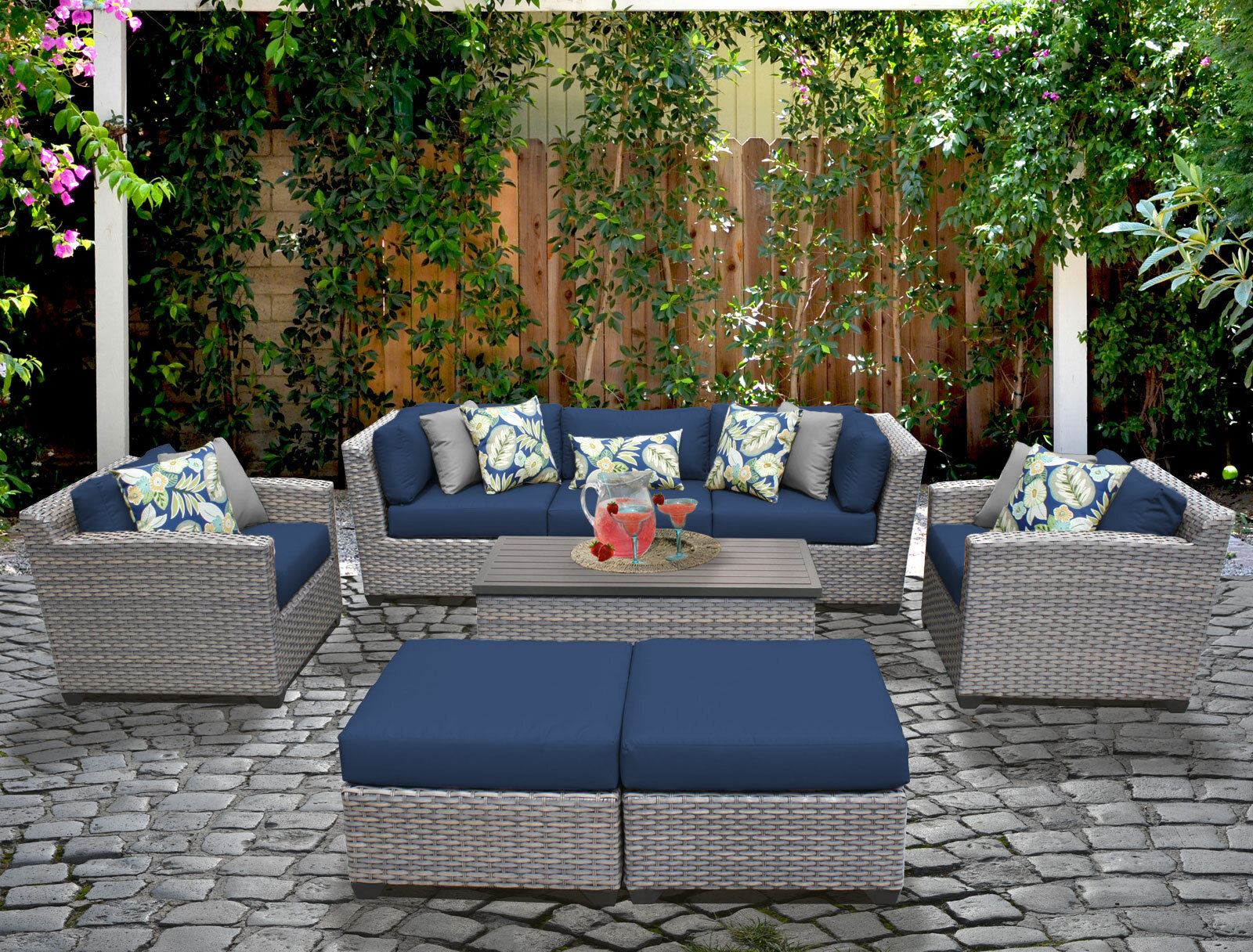 Merlyn 8 Piece Rattan Sofa Seating Group With Cushions Reviews Joss Main