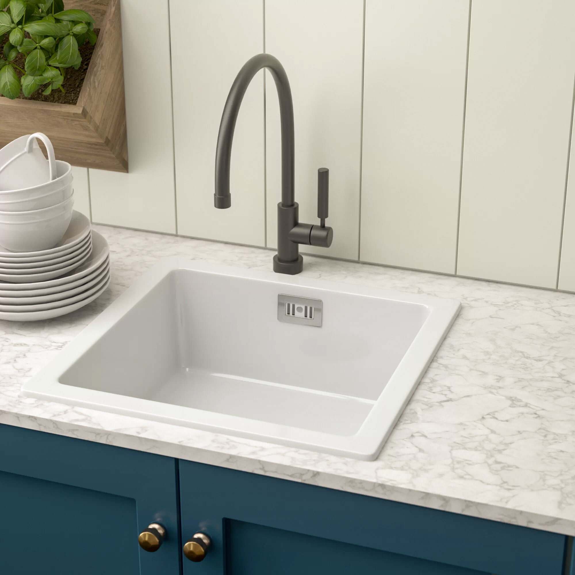 Cda Single Bowl Inset Kitchen Sink Wayfair Co Uk