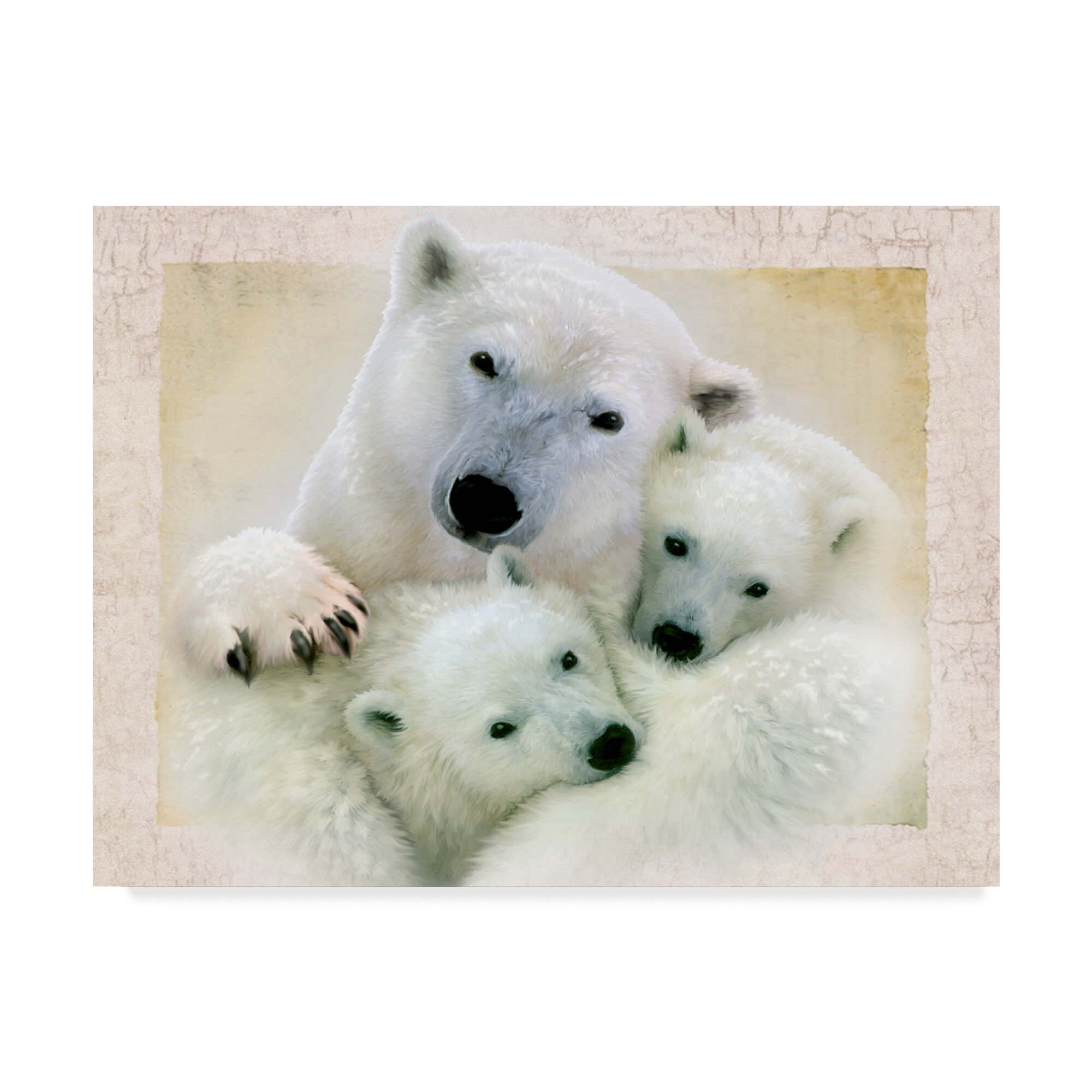 Trademark Art Polar Bear Family Acrylic Painting Print On
