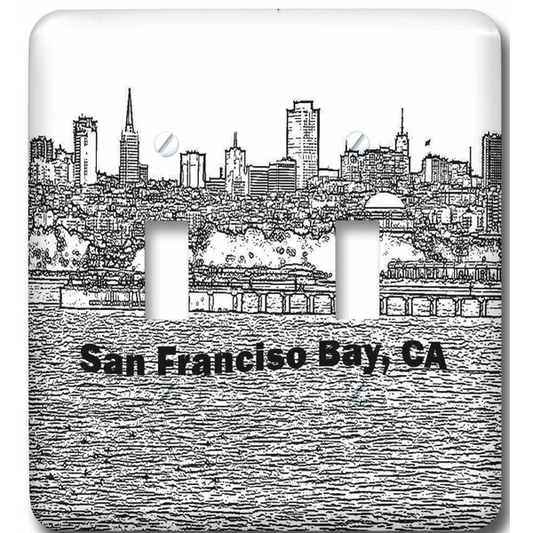 San Francisco Line Art 2-Gang Toggle Light Switch Wall Plate by 3dRose