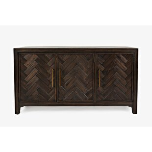 Read Reviews Tathana Wooden Chevron Pattern 3 Door Accent Cabinet By Union Rustic