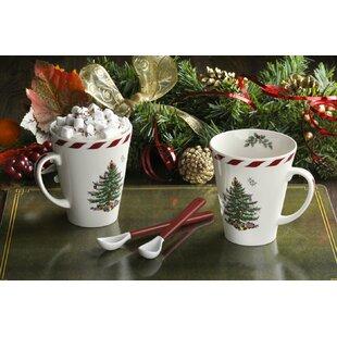 Christmas Tree Peppermint Mug With Spoon Set Of 2